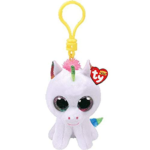 "Ty Beanie Boos Big Eyes Plush Dog Keychain Doll Unicorn Penguin Leopard Owl Monkey Clip Toys 4"" 10cm (Color White Unicorn) -  Green Riverside"