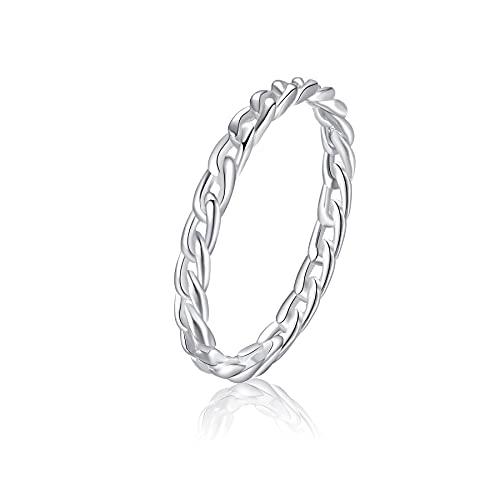 Anillo SILBERTALE para mujer, hombre, plata 925 para nudillos para mujer, cuerda fina, apilable, índice meñique, dedo medio, anillo para pulgar, ajuste cómodo, regalo de joyería