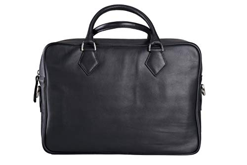 Leather Laptop Briefcase Shoulder Bag for Men and Women, Cooper, Fits 13 inch Laptop, 14 inch by 10 inch by 3.5 inch, Black, by Ladderback