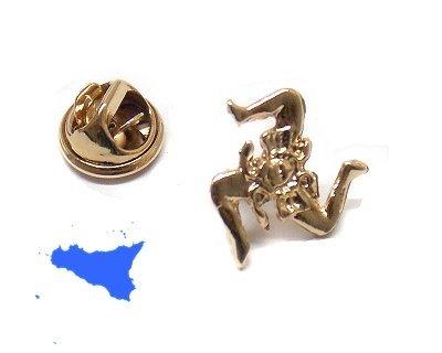 DELFIERO Trinacria de Metal con Broche Dorado para Chaqueta