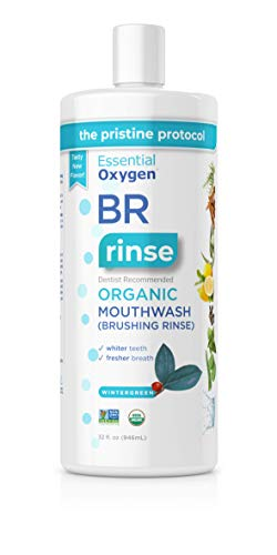 Essential Oxygen BR Certified Organic Brushing Rinse, All Natural Mouthwash for Whiter Teeth, Wintergreen, Refill, 32 Fl Oz
