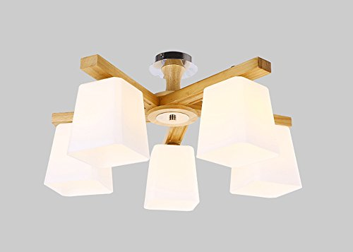 Plafonnier Peaceip Nordic Fashion Simple en Bois Massif Lumière Ceilight Lamp for Bedroom, Kitchen, Living Room, Corridor, Balcon (Taille : Five-Headed)
