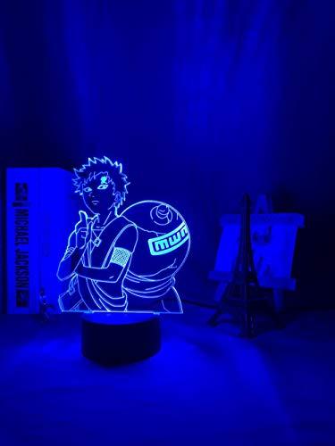 Luz nocturna 3D para mesa de Gaara con figura de anime LED brillante japonesa manga nocturna para habitación de bebé, regalo de luz nocturna ZGLQ