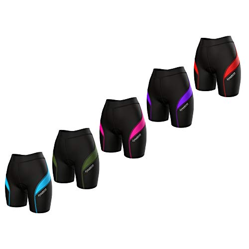 "Zimco Core Womens Triathlon Shorts Womens Tri Shorts Tri Shorts Women 7"" Triathlon Training Shorts Swim Bike Run (Black/Red, Small)"