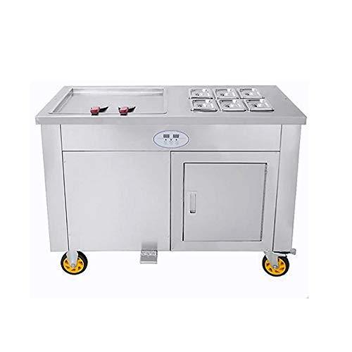 Profi Roll-Eismaschine mit 2 Kompressoren, 6 Behältern und Eisplatte 45x45cm Ice Cream Rolls Machine