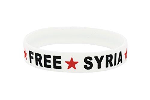 YSN Home Collection Armband Armreif aus Gummi 'Free Syria' Syrien Syrische Flagge Stern - Weiss