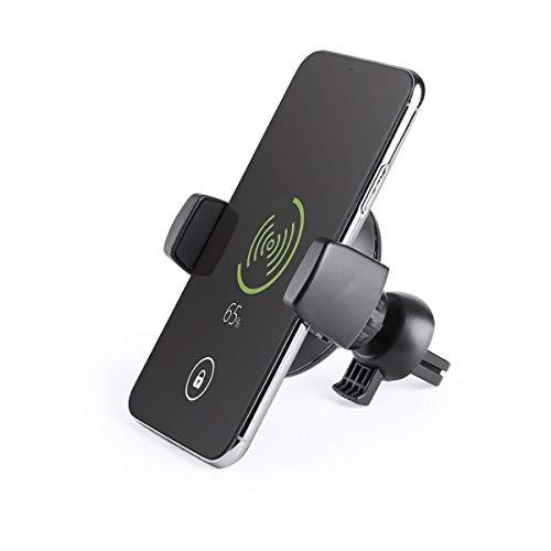 BigBuy Tech draadloze oplader voor auto's NE gramos of 146135 S1416665, volwassenen, unisex, zwart, eenheidsmaat