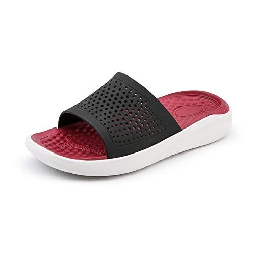 ZHANGNING Pantuflas exteriores para hombre, para hombre, para ocio, piscina, para interior, suela casual, antideslizantes, puntera abierta, zapatillas de baño (color: rojo, tamaño: 42 UE)