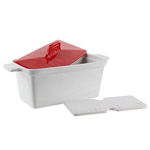 Saveur et Degustation KC2301Foie Gras Terrine with Press, Ceramic, Red/White, 25.5x 11x 27cm