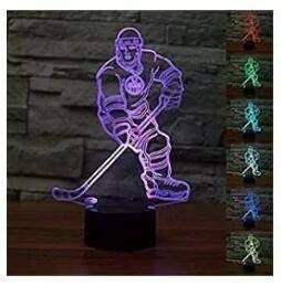 3D Eishockey Spieler nachtlicht illusion Lamp 7 Colours Amazing Optical Illusion Art Sculpture Remote Instellung Lights produces Unique Lighting Effect and 3D Viewing for Home Decor/Creative Gift