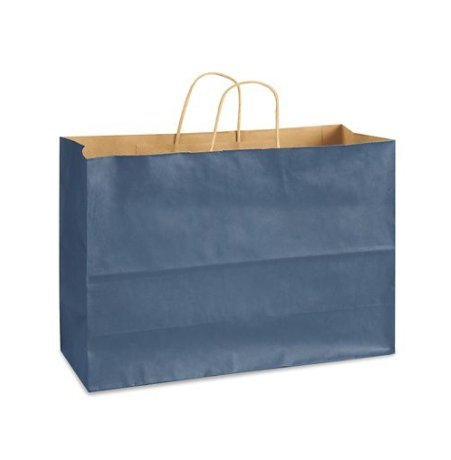 Blue Bags, Extra Large Kraft Paper Gift Wrap Shopping Bags, (Vogue Size 16W x 12H x 6), 25 Bags, Made in USA