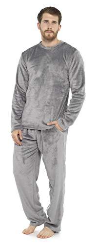 CityComfort Piżama męska długa, polarowa piżama zimowa, jasnoszary, M