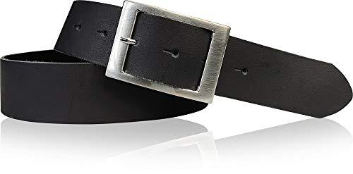 FRONHOFER Gürtel Damen 4 cm, Taillengürtel, Hüftgürtel aus echtem Leder, silberne Schnalle 17575, Größe:Körperumfang 100 cm / Gesamtlänge 115 cm, Farbe:Schwarz