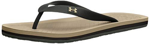 Under Armour Men's Atlantic Dune Flip-Flop, Black/Artillery Green, 12 M US