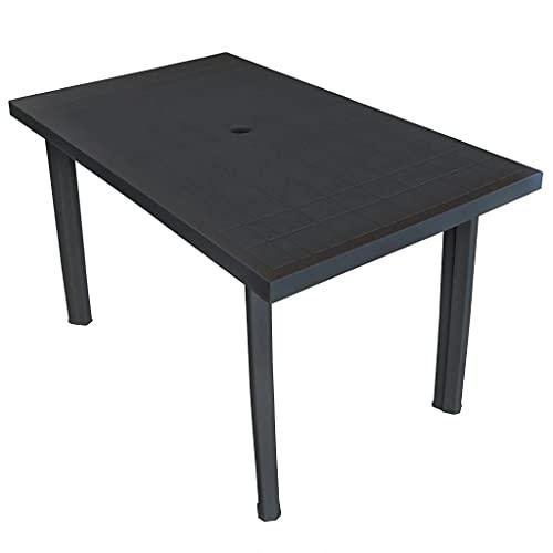 vidaXL Tavolo da Giardino 126x76x72 cm in Plastica Antracite Tavolino Tavola