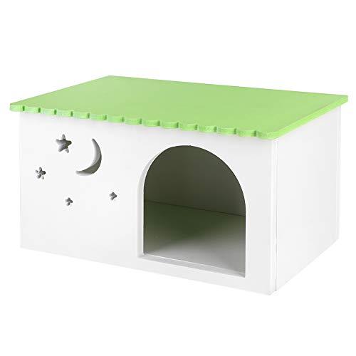Soapow Cochinillos de indias conejos casa nido mascotas caja de erizo jaula verde cabina para mascotas pequeñas