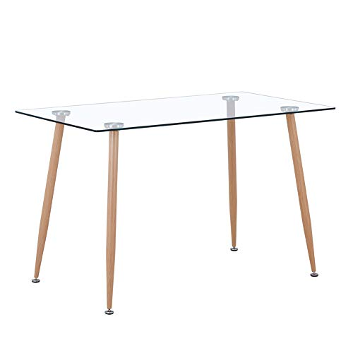 GOLDFAN Glass Dining Table Modern Wood Style for Kitchen Table Rectangle Dining Room Table, 120 x 70 x 75 cm (Table Only)