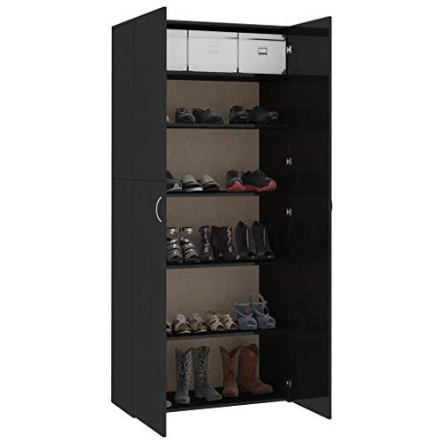Qnotici Zapatero gabinete de Pasillo Zapatero Armario Zapatero cómoda Negro de Alto Brillo 80 × 35,5 × 180 cm aglomerado