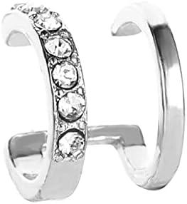 Clip Earrings for Women Korean Drilling Clip on Earrings Fashion Double C Ear Clip Without Ear Hole Jewelry Wholesale