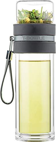 T-Bottle Theebeker, Charcoal Grey, Met theefilter, dubbelwandig glas, Maak eenvoudig je eigen verse thee, Vaatwasmachine bestendig