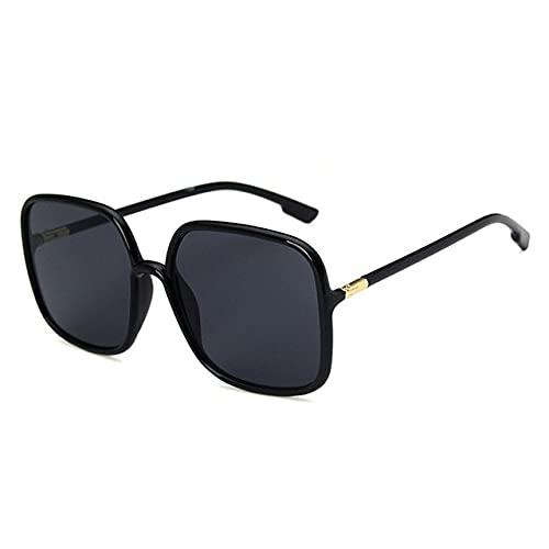Berrd Gafas de Sol Retro clásicas para Mujer con Montura de plástico Cuadrada de Gran tamaño, Pantalla de Lente Rosa Gris Transparente