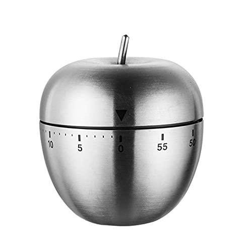 BBGSFDC Kochen Wecker Edelstahl Kitchen Timer Rundes Ei Geformte mechanische Wecker Countdown Küche Gadgets Zubehör (Color : Apple Shape)