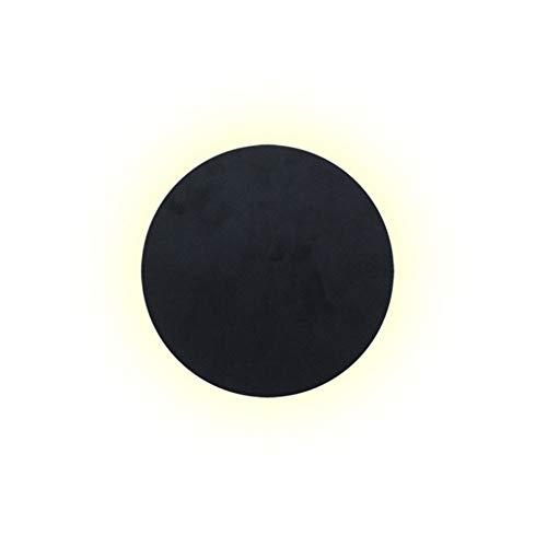 Aplique de pared de iluminación de fondo redondo luz de pared simple interior y exterior luz de pared eclipse creativo luz de pared combinación de iluminación (negro)