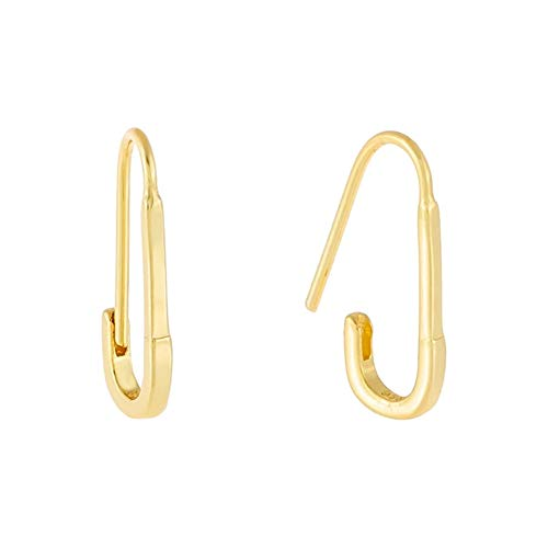Tiny Cute Safety Pin Cartilage Sterling Silver Small Hoop Earrings for Women Girls Minimalist Elegant Simple Chic Hoops Hypoallergenic Ear Piercing Fashion Body Jewelry 17mm