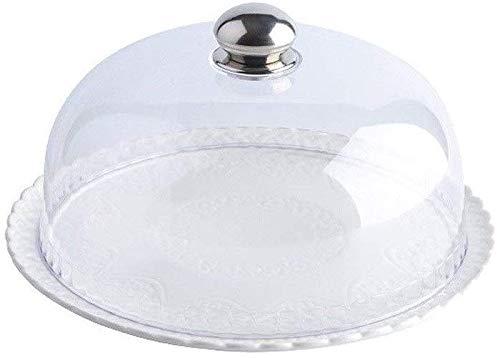 ZXL keramische cakehouder, plastic kap, hoofdzaak brood-steak-bewaringsafdekking-spaan-en dip-bediener-tuin-stof-cover-cakestandplaatsen (kleur: wit, maat