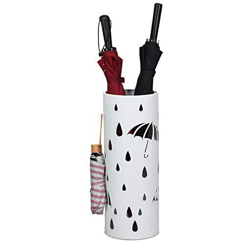 COSTWAY Regenschirmständer Metall, Schirmständer rund, Schirmhalter mit 2 Haken, 19 x 19 x 50 cm, Farbewahl (Weiß)