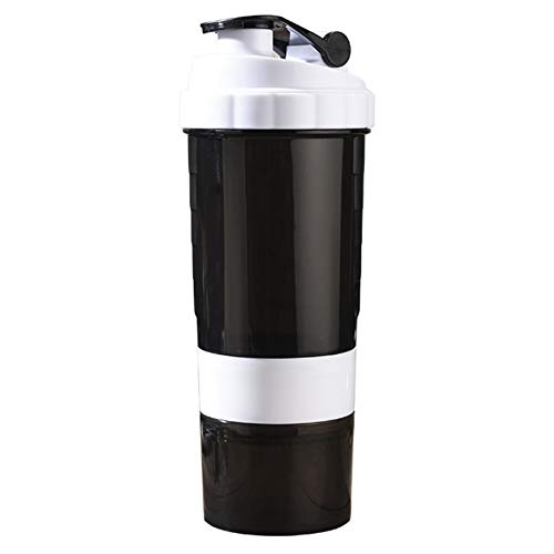 DALADA Protein Shaker 500ml Sports Shake Bottle Bpa-free Shaking Cup Outdoor Water Container, 3-layers Fitness Drinking Kettle with Mixing Ball, Nutrition Powder Section and Pill Compartment