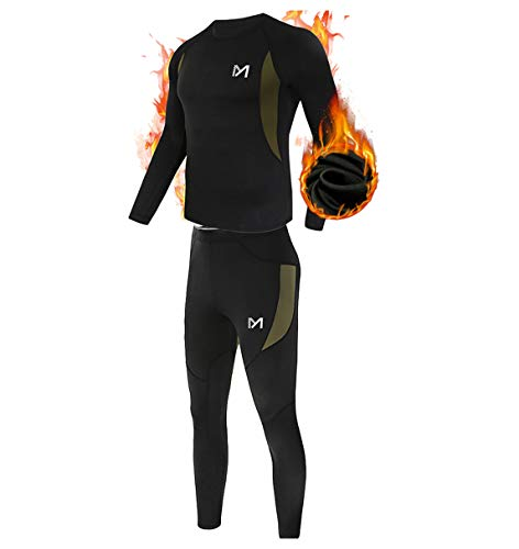Men's Thermal Underwear Set, Sport Long Johns Base Layer for Male, Winter Gear Compression Suits for Skiing Running Black