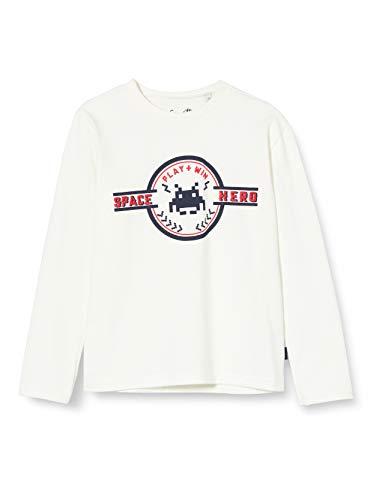 Sanetta Jungen Ivory Kidswear Langarm-Shirt in dunkelblau mit coolem Print auf der Brust, beige, 98
