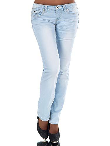 Damen Bootcut Jeans Hose Damenjeans Hüftjeans Gerades Bein Dicke Naht Nähte H922,Blau,42 (Etikette 44)