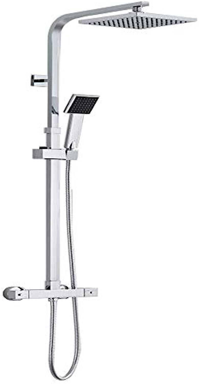 Thermostat Duschset Duschsule    Duschsystem mit Handbrause und Regendusche Verstellbar Duschset Brausethermostat Duschstange, 80 bis120cm