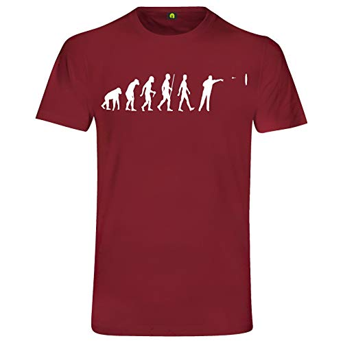Evolution Dart T-Shirt | Sport | Scheibe | Pfeil | Dartpfeile | Turnier Bordeaux Rot XL