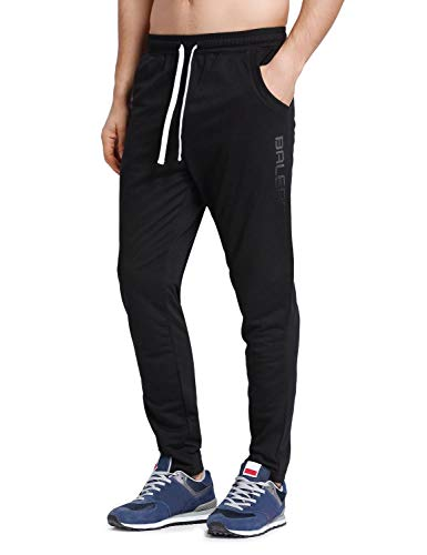 BALEAF Men's Tapered Athletic Running Pants Joggers Lounge Workout Sports Sweatpants with Pockets Black Size L