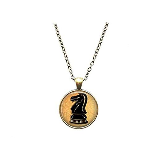 Collar de ajedrez símbolo caballero colgante joyería antigua