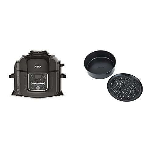 Ninja Foodi Multikocher [OP300EU] Tender-Crisp-Technologie, Schwarz und Grau & 4026J300EUK Foodi 2-teiliges Antihaft-Backformen-Set Bakeware, Ceramic-Coated, Black