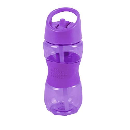 Thermo Rex Trinkflasche Grip | 400ml | lila | BPA-freier Kunststoff | nahezu bruchsicher u wiederverwendbar – mit integriertem Strohhalm |Wasserflasche