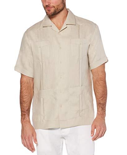 Cubavera Men's Short Sleeve 100% Linen Guayabera, Natural Linen, Large