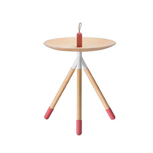 Jcnfa-bijzettafel Bijzettafel met handvat, massief hout ronde koffietafel, siliconen poten, DIY montage ontwerp