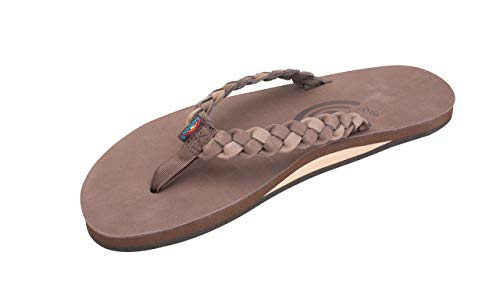 Rainbow Sandals Women's Single Layer Premier Leather w/Double Braided Strap Expresso/Dark Brown, Ladies Small / 5.5-6.5 B(M) US