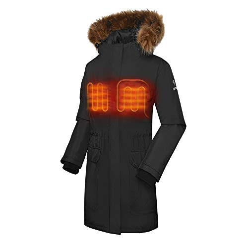 ORORO Women's Heated Parka Jacket with Thermolite Insulation (Battery Included) (L) Black