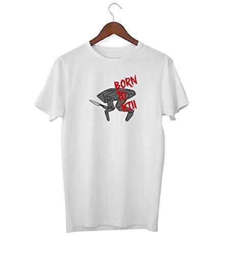 Witte Spiegel Volledige Metalen Hoofd Insect Geboren naar Kill_KK017117 T-shirt T-shirt voor Mannen - Wit