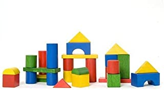 Edu Fun 31380 Wooden Puzzle, Construction Blocks, Multcolour, 58 Pieces