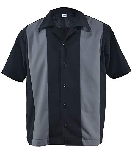 Bowling Shirt Worker Hemd Rockabilly Two Tone Gabardine Lounge 50er Vintage Retro Double Panel (L/Large, Schwarz/Grau)