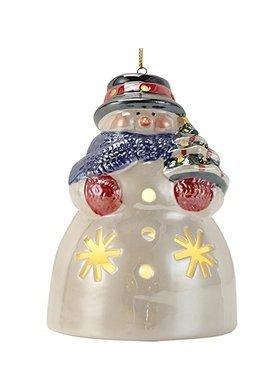 Mr. Christmas Illuminated Porcelain Snowman Ornament