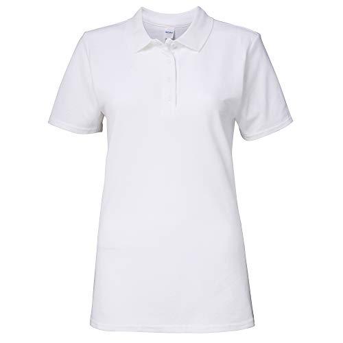 Gildan Softstyle Damen Kurzarm Doppel Pique Polo Shirt (L) (Weiß)