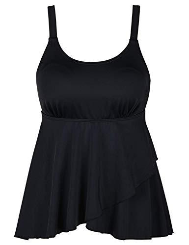 Septangle Women's Bandeau Swimsuit Flyaway Tankini Top Tummy Conceal Swimwear Flowy Bathing Suit,US 14,Black